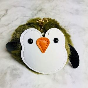 New! Penguin Faux Fur Pom Pom Keychain Bag Charm
